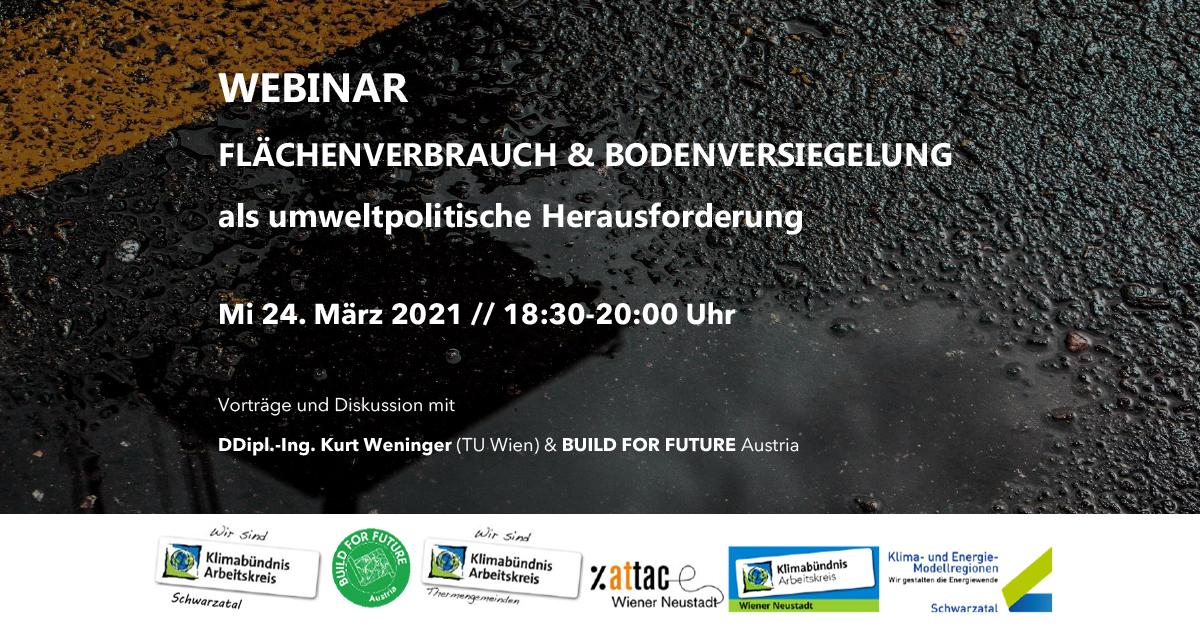 Webinar: Flächenverbrauch und Bodenversiegelung als umweltpolitische Herausforderung